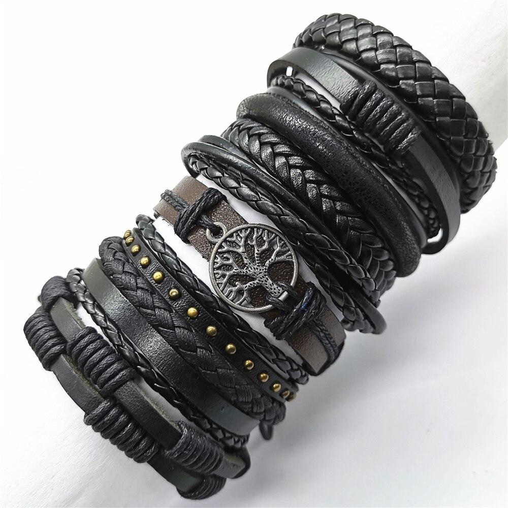 Новые модные плетеные мужские и женские кожаные браслеты ручной работы, черный цвет, 10 шт./компл. коричневый, оптовая продажа, ювелирные изде...