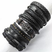 Pulseira de couro, preta 10 pçs/set, marrom, tecido novo, moda, masculina, feminina, pulseira de couro, árvore, pulseiras, presente, joias para homens