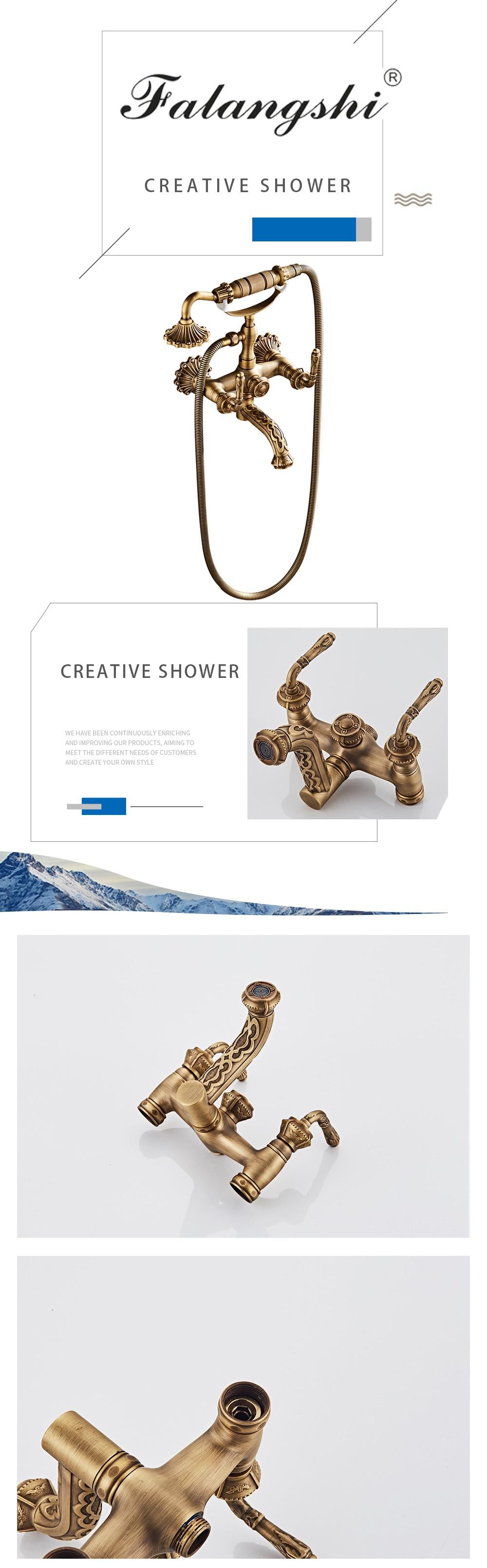 H62a6ea5669c9482f92b11e810e158114e Antique Bronze Bathroom Shower Faucet High Quantity Bathtub Shower Set Mixer With Hand Shower Taps Wall Mounted WB1603
