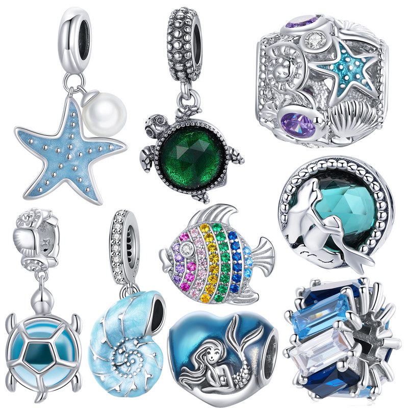 100% 925 sterling silver new ocean charm sea turtle starfish pendant mermaid beads fit original Pandora jewelry bracelet making