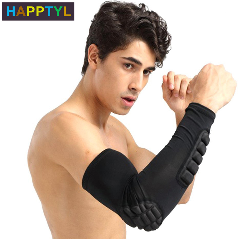 HAPPTYL 1Pcs Elbow Pads Compression Shooter Sleeves Men Women Arm Sleeve With Pad For Basketball Football Volleyball Baseball
