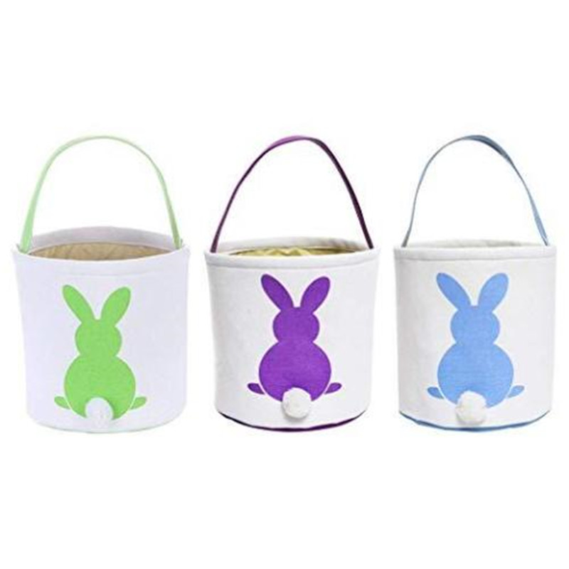 Bunny Easter Bucket Childrens Cute Basket Decoration Egg Hunting Canvas Gift Carry Candy Bag Holiday Rabbit Handbag Barrel Totes