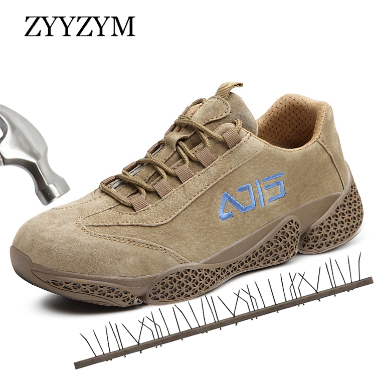 ZYYZYM Men Safety Shoes Steel Toe Work Shoes Lace-Up Style Outdoors Men Casual Shoes Fashion Sneakers Anti-piercing Footwear