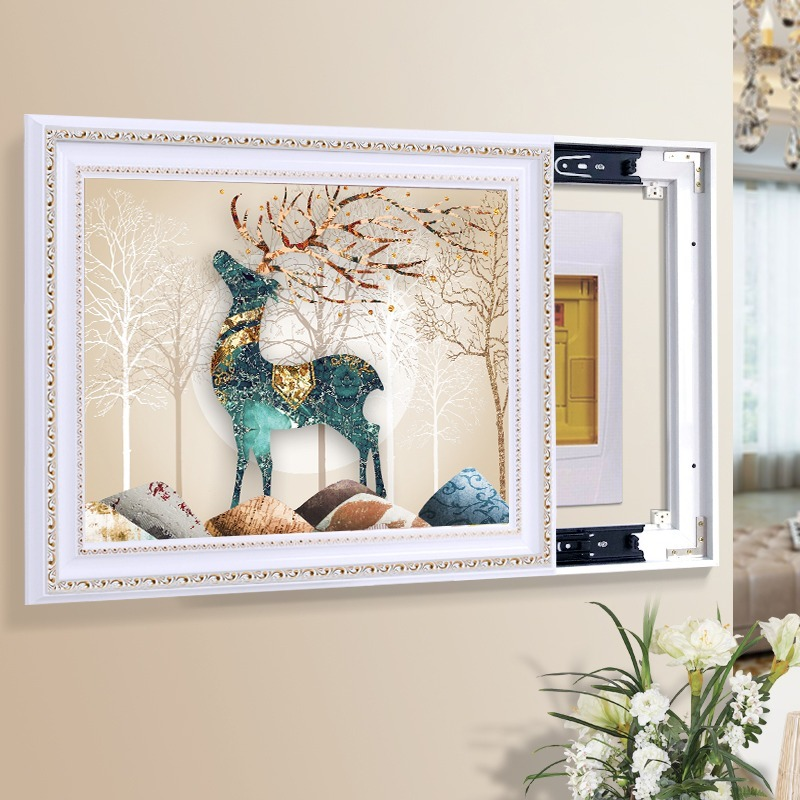 Punch-free Electric Box Push-pull Painting Meter Box Cover Decorative Painting Electric Gate Master Switch Box Framed Painting