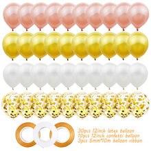 43 pçs 12 Polegada látex balões festa de aniversário do casamento decoração do chá de fraldas aniversário fontes confetes ballon