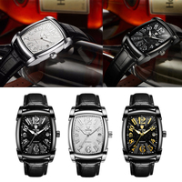 Classic Rectangle Case Vintage Design Watches Leather Band Wrist Watch Men|Mechanical Watches|   -