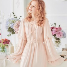 Free Shipping 2019 New Spring  Womens White and Pink Princess Pijamas Chiffon Nightshirt Long Sleepwear Vintage Nightgown