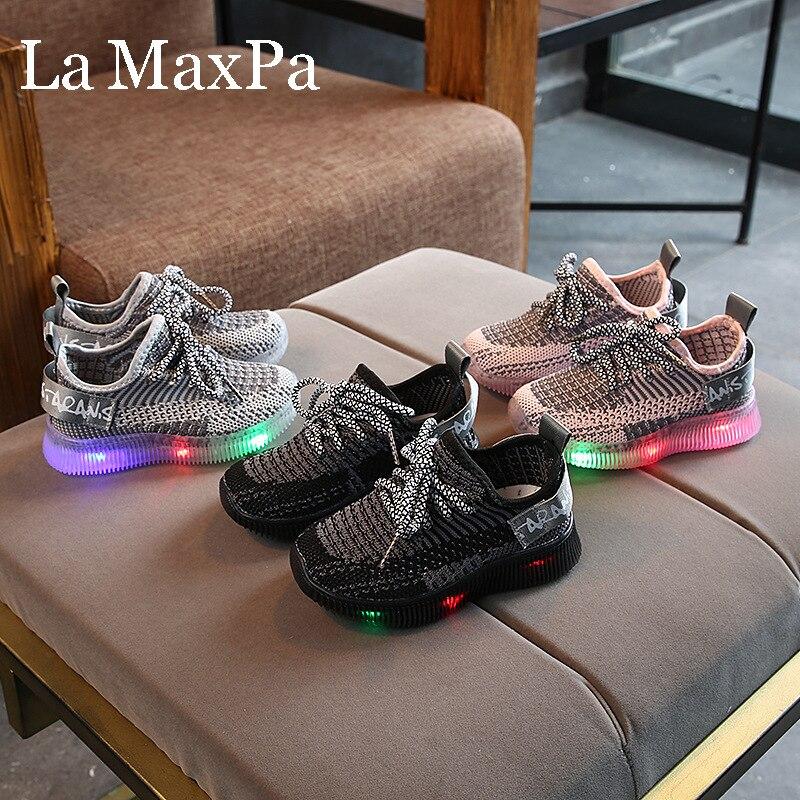 Size21-30 Led Luminous Spiderman Kids Shoes Boys Girls Light Children Sneakers