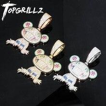 Topgrillz Hip Hop Đá Ra Ếch Mặt Dây Chuyền Vòng Cổ Nam Nữ Charm Dây Chuyền Trang Sức Quà Tặng Full Micro Pave Zircon Cổ