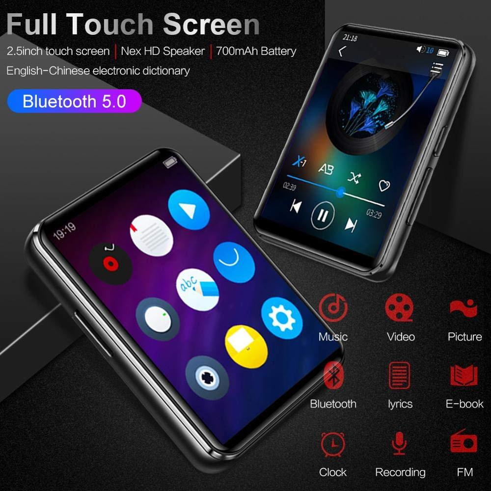 MP3 Player Bluetooth 5.0 With 2.5 Inch Touch Screen 16GB HiFi Built-in Speaker Music Player With FM Radio Support SD Card 128GB