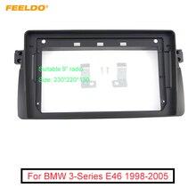 """Feeldo carro áudio rádio 9 """"tela grande 2din fascia quadro adaptador para bmw e46 98 05 cd/dvd player traço montagem painel quadro kit"""