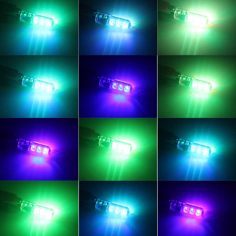 1 Set T10 W5W LED Rgb168 194 SMD 6LED 5050 Remote Control RGB Mobil Ekor Piring Sisi Lampu Clearance Lampu baca Mobil Baji Lampu