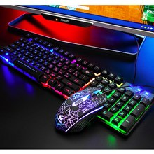 Mechanical Keyboard 104 key Gaming Keyboards Mouse Set Combo For Tablet Desktop Russian Keyboard Russian Keys Gamer Internet Bar(China)