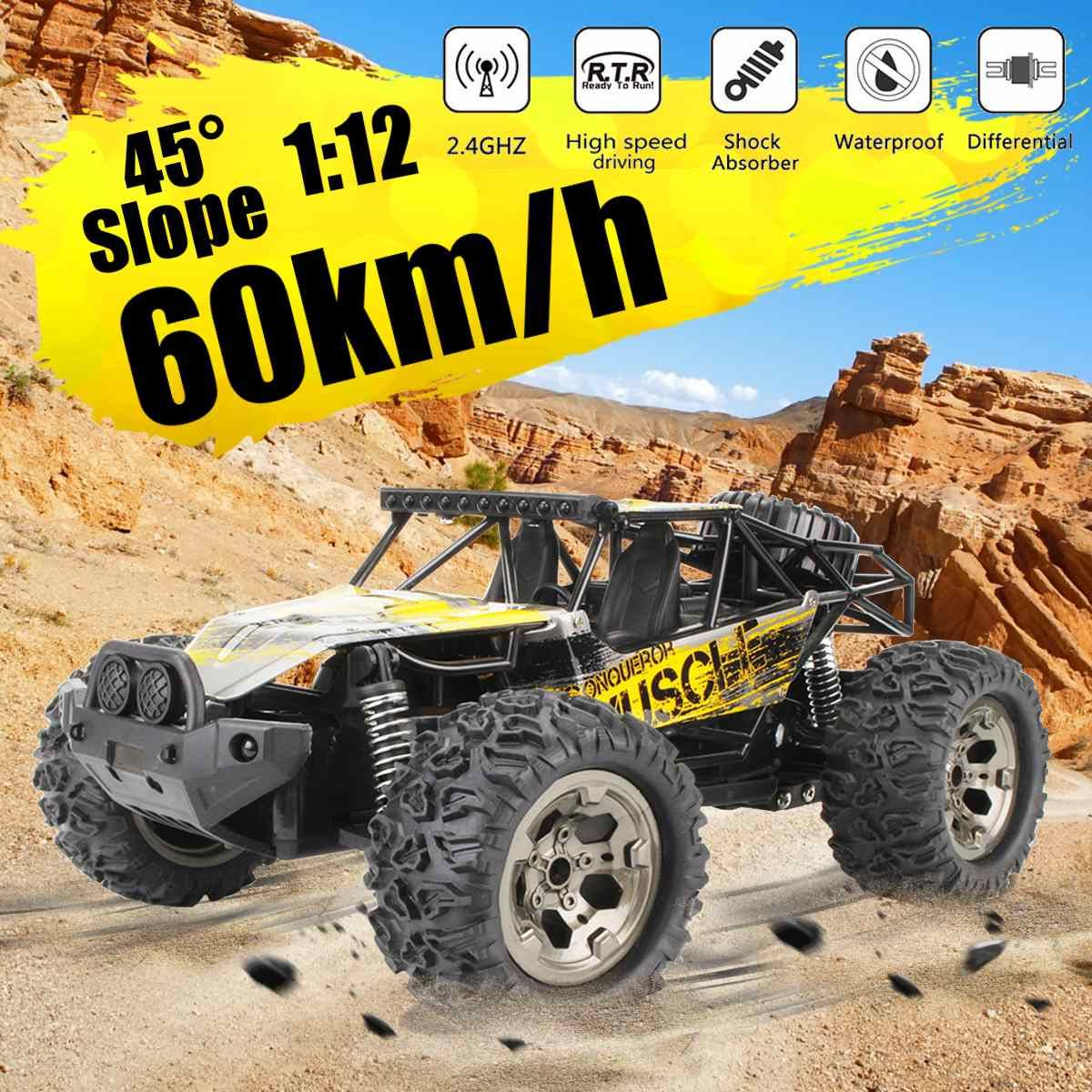 1:12 60Km/h RC Remote Control Off Road Cars Vehicle 2.4Ghz Crawlers Electric Monster Truck Toys For Children Kids RC Cars    - AliExpress