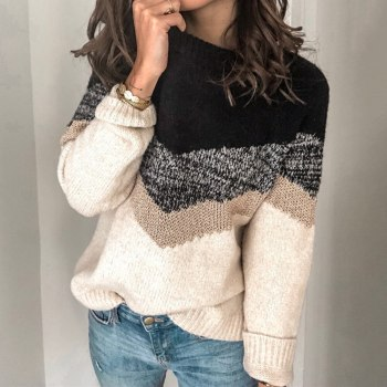 2020 Autumn and Winter New Loose Knitted Sweater Women Pullover Long Sleeve Women Pullover Casual Color Block Striped Sweater brief round collar color block knitted women pullover