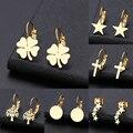 DOTIFI для женщин серьги Счастливый клевер, классический крест, геометрическая фигура сварные Нержавеющая сталь Золото и серебро серьги X61-X74