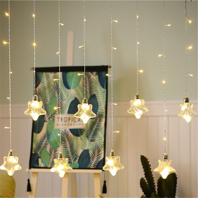 Wedding Decoration Mariage 12 Led Star Wish Ball Curtain Lights Baby Shower Birthday Party Wedding Party Decoration for Home Q in Party DIY Decorations from Home Garden