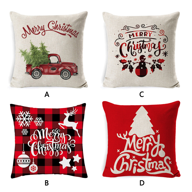 Merry Christmas Throw Pillow Cushion Cover Case Pillowcase Pillowcover for Xmas Party Home Car Sofa Cafe Pub Decor 45x45cm