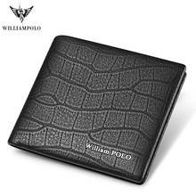 WILLIAMPOLO luxury Brand Men Wallet Short Genuine Leather Crocodile Bifold purse fashion  New design Cowhide Black  Leather