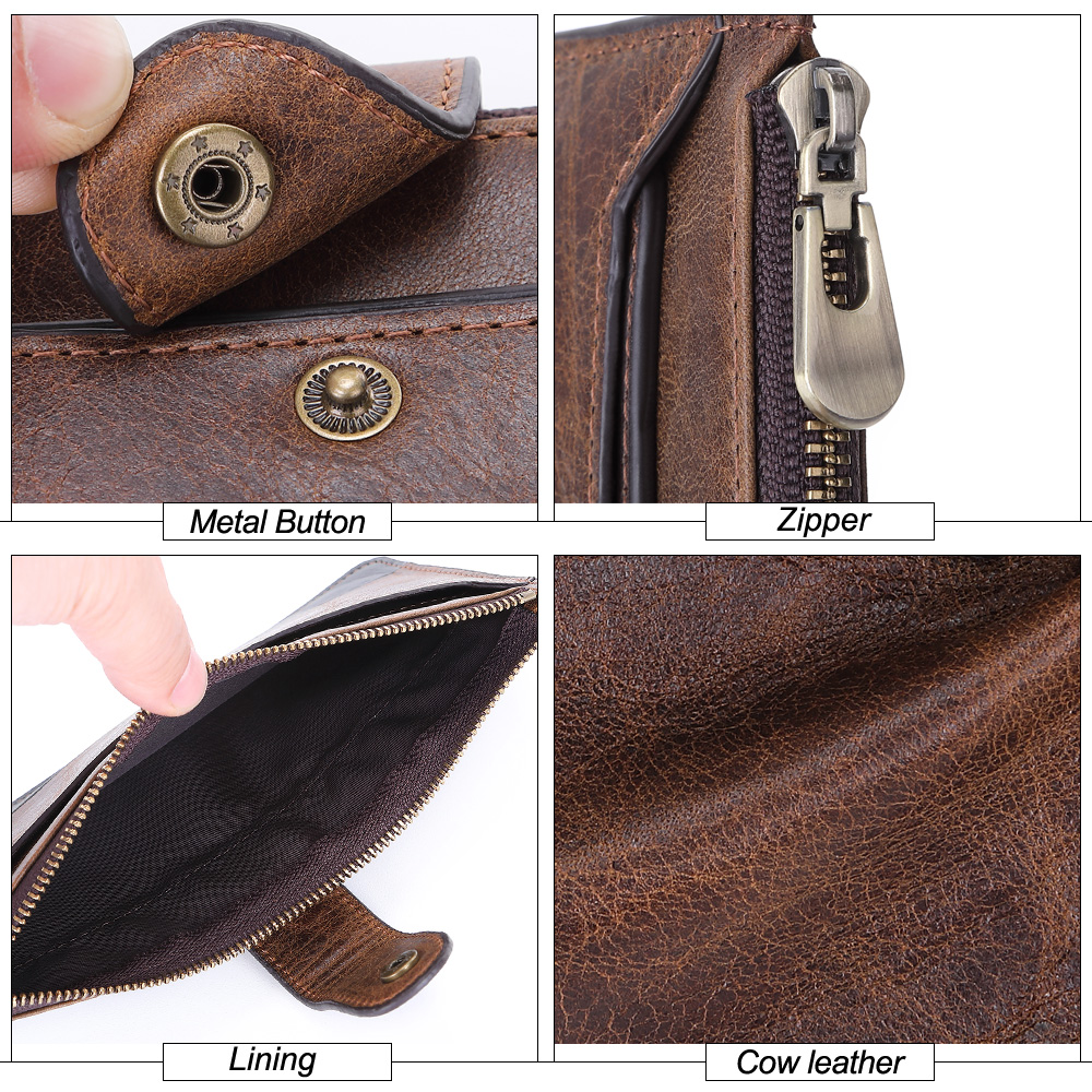 Image 5 - 2019 Fashion Men Wallets with Coin Purse Long Male Money Purses Dollar Mens Money Phone Bag Genuine Leather Thin Clutch WalletWallets   -