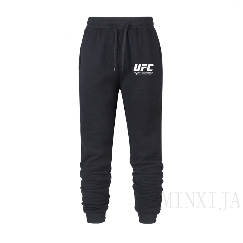 Male Trousers Sweatpants Jogger-Grey Elastic Ufc-Printed Cotton Casual New Velvet Plus