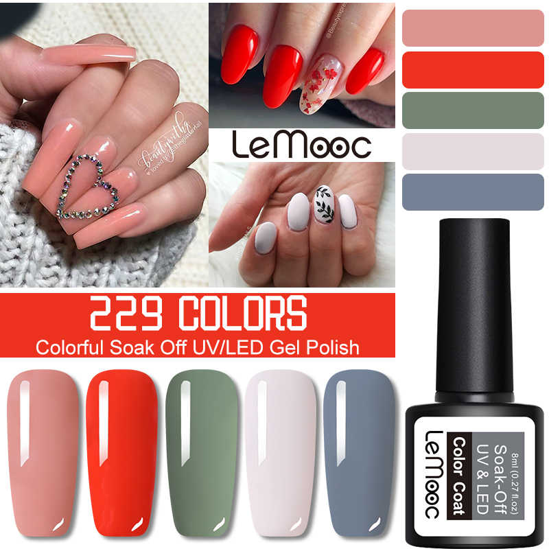 1 butelka 8ml Lemooc żelowy lakier do paznokci wiosenna seria mieszany kolor Soak Off led UV żelowy lakier do paznokci Nail Art DIY Design żel UV