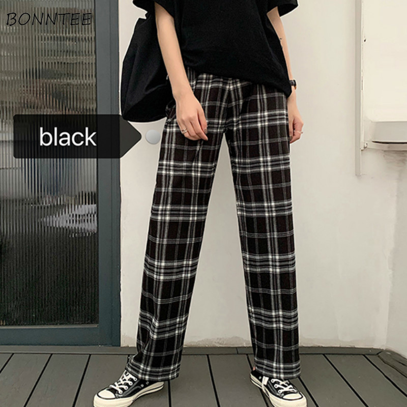 Pants Women Retro Plaid Harajuku Straight Vintage Unisex BF Teenager Casual Summer Pant Kpop Full Chic Daily Womens Loose Trendy