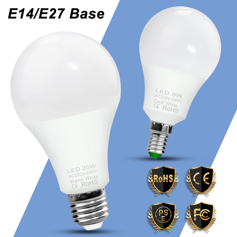 E27 LED Bulb 220V E14 Bombillas Led 3W 6W 9W 12W 15W 18W 20W LED Lamp 240V Light Bulb Spotlight Lamp Home Lighting 2835 Ampul