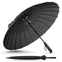 Дизайн, фирменный зонт от дождя, Мужской и Женский, качественный, 24 K, зонт из стекловолокна, сильный, ветрозащитный, с деревянной ручкой, для женщин, Paraguas