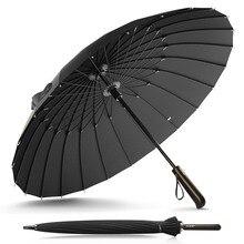 Yeni tasarım OLYCAT marka yağmur şemsiye erkekler kadınlar kaliteli 24K cam elyaf şemsiye güçlü rüzgar geçirmez ahşap saplı kadınlar Paraguas