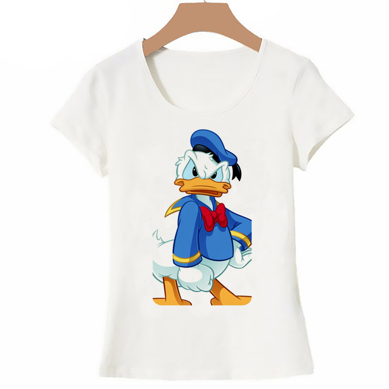 Funny Angry Duck Women's T-shirt Summer Short Sleeve T Shirts Donald Duck Mickey Mouse Cartoon Designer Tops Tee