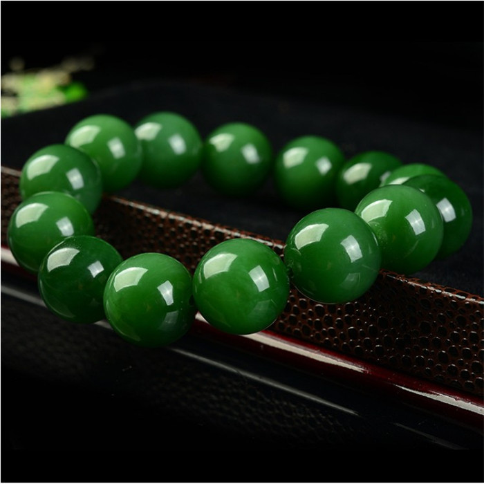20mm Natural Green Jade Beads Bracelet Bangle Charm Jewellery Fashion Accessories Hand-Carved Man Amulet Gifts NEW