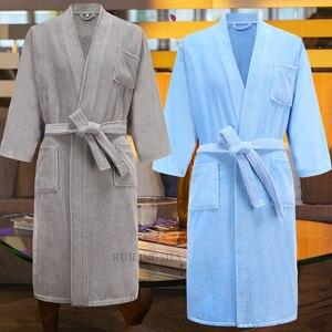 Image 4 - Star hotel 100% algodão suor toalha de banho roupões homens plus size inverno quimono quente roupão de banho dos homens terry sleepwear