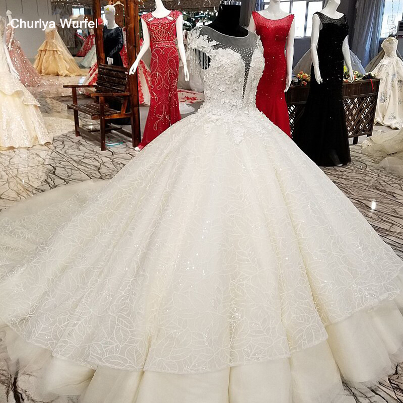 LS10012 2018 Luxury ball gown wedding dress o-neck short sleeves lace up online bridal wedding gown with long train and beading