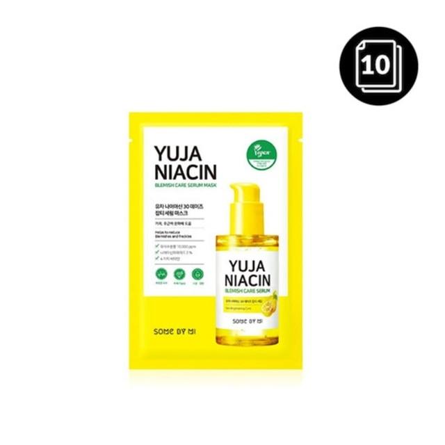 SOME BY MI Yuja Niacin Blemish Care Serum Mask 10ea Moisturizing Brighten Whitening Mask Oil-control Shrinkage Pore Antioxidant