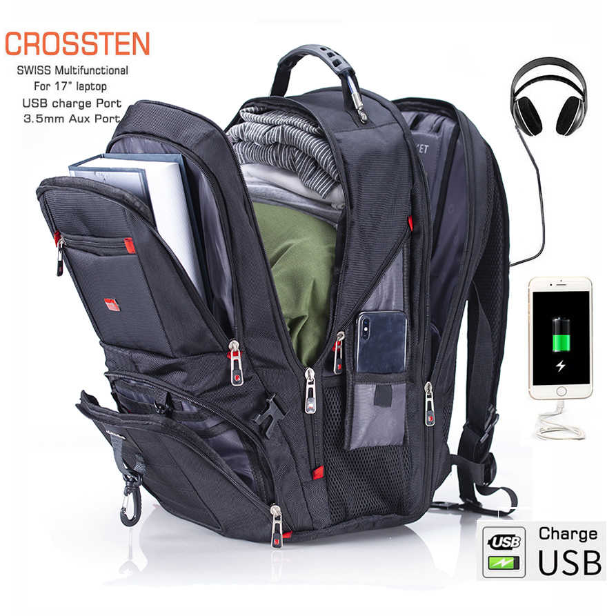 "Crossten 17.3 ""Laptop Ransel Tahan Air USB Charge Port Swiss Multifungsi Ransel Sekolahnya Mochila Tas Travel Hiking"
