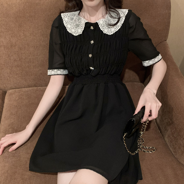 2021 Summer Retro Lace Peter Pan Collar Short Sleeve Black Chiffon Vestido Holiday A-line Chic Casual Ladies Slim Dress 3
