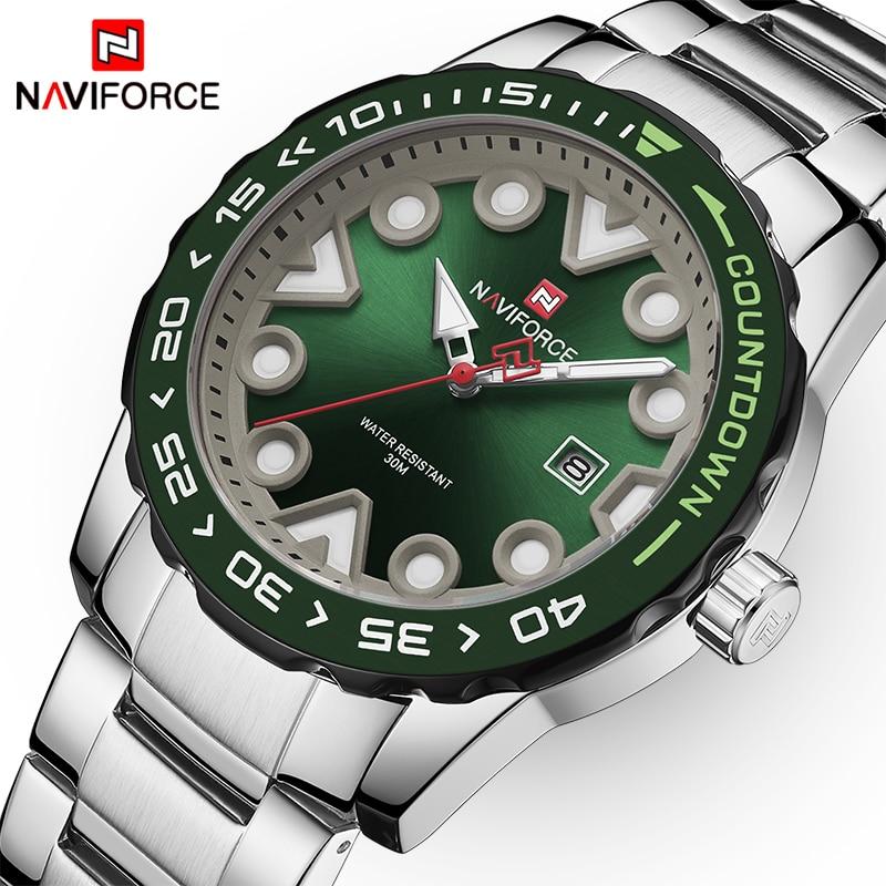 NAVIFORCE Fashion Men's Sport Quartz Watch Men Stainless Steel Waterproof Luminous Wristwatch Men Date Clock Relogio Masculino