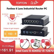 Topton endüstriyel Mini PC Intel Core i5 8265U i3 6157U 6 lan güvenlik duvarı yönlendirici Pfsense sunucu 2 * RS232 4 * USB3.0 HDMI 4G/3G AES-NI