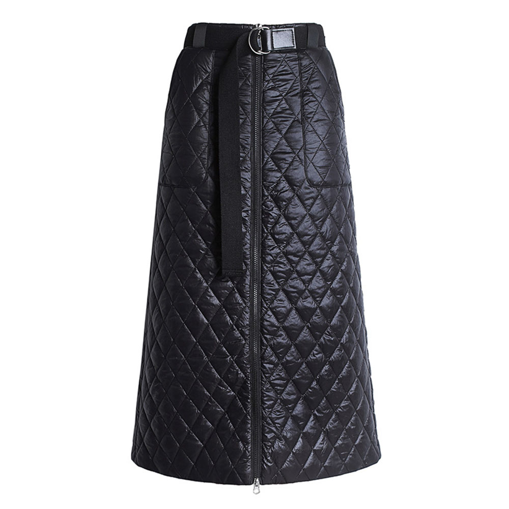Winter 2019 New Fashion Plus Size Warm Thick Cotton Padded Skirts Black A-line Causal Oversize 3XL 4XL Winter Skirt With Zipper