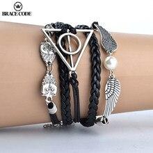Código cinta de couro do vintage corda harri pote deathly hortas pulseiras tecer mão multicamadas pulseiras para fãs de filme jóias presente