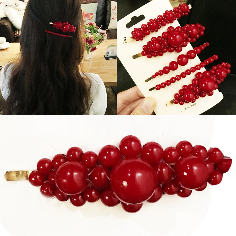 2019 New Fashion Metal Hair Accessories Geometric Gold Color Hair Clip For Women Imitation Red Pearl Hairpin Barrettes Hairgrip
