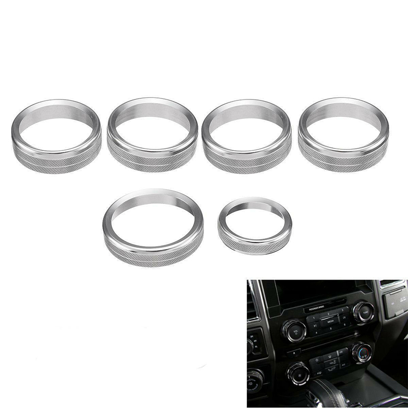 6pcs Air Conditioner /& Audio Switch Knob Ring Cover Trim Red For Ford F150 16-18