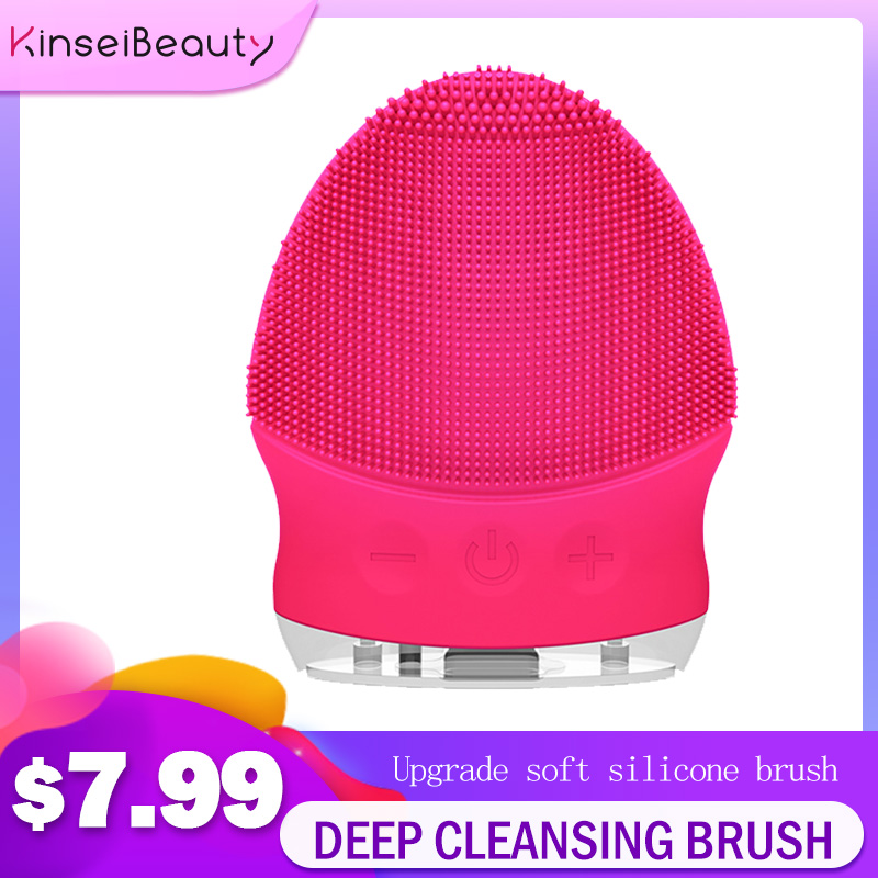 New Sonic Electric Facial Cleansing Brush Waterproof Facial Brush Massager Mini Silicone Powered Facial Cleansing Skin Care Tool
