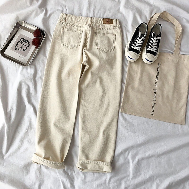 2019 New Style Spring And Summer High-waisted Wide-Leg Jeans Loose-Fit Slimming Harem Skinny Students Pants
