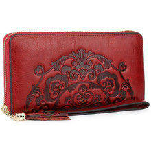 genuine leather women wallets floral real leather clutch bag