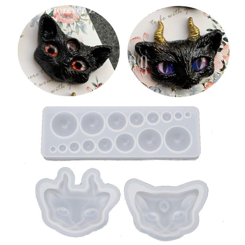 Cartoon Evil Cat Eye Silicone Resin Molds Kit Epoxy Resin Casting Jewelry Tools
