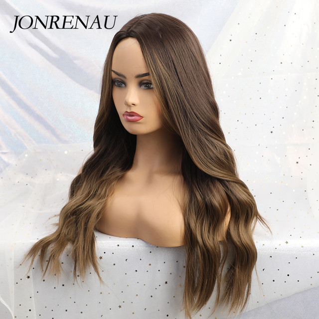 JONRENAU 24 Inches  Long Synthetic Natural Wave Brown Ombre Hair Wigs Heat Resistant Hair Wigs for Black Women 3
