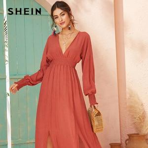 Image 4 - SHEIN Deep V Neck Red Solid Shirred Waist Split Hem A Line Dress Women 2019 Autumn Holiday Long Sleeve Ladies Boho Maxi Dresses