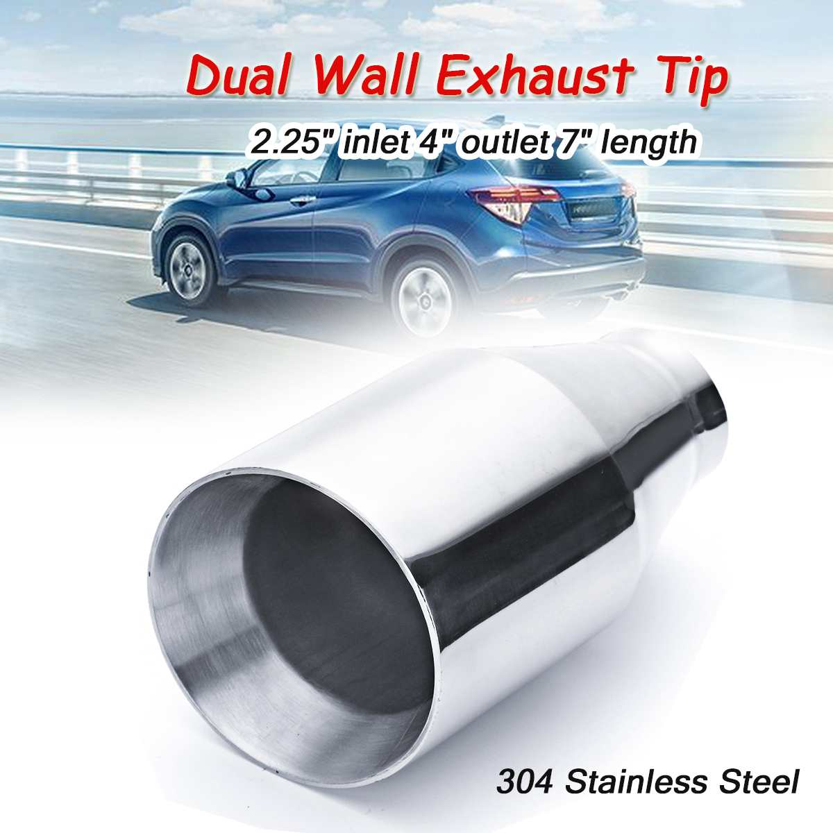 Universal 58mm-101mm Car Exhaust Muffler Pipe Dual Wall Exhaust Tip Tail Pipe Outlet Nozzle Stainless Steel